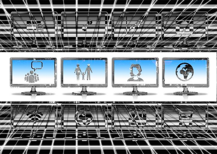 A futuristic picture with chrome bars and 4 computer screens across the middle.  The screens show pictures of a crowd, a family, a mother, and the world.  The people are stick like figures.