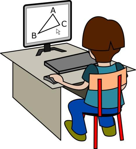 A child sitting at a computer on a small desk with a triangle on the screen.