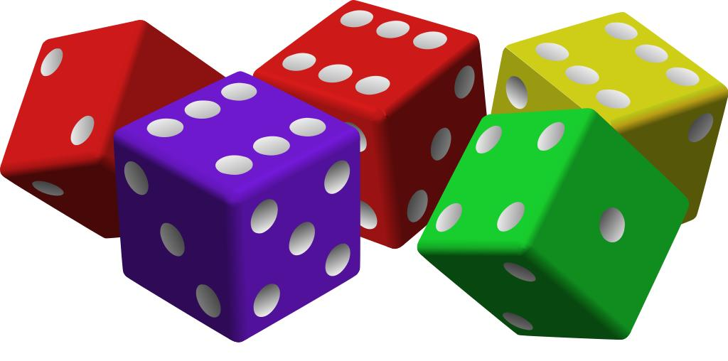 Red, yellow, purple, and green six sided dice.