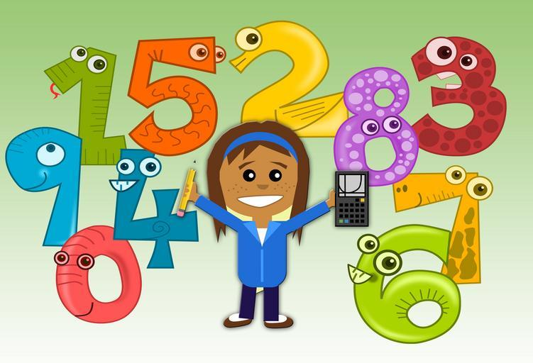 A cartoon child with a calculator standing among colored numbers with faces.