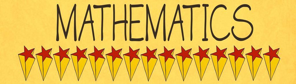 A yellow banner that says Mathematics, and has red stars under it in a line.