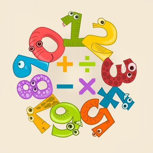 Colored numbers 0-9 that have eyes and look like faces, placed in a circle around plus, divided by, minus and multiplication signs.