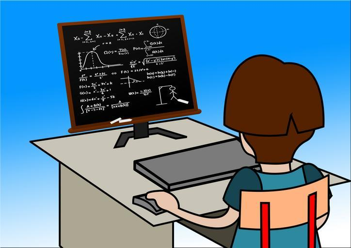 A kid looking at a computer screen with math symbols and a game of hangman.