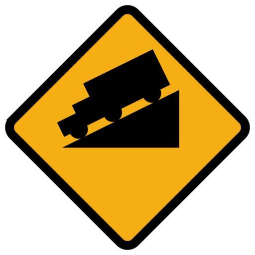 Traffic sign for steep hill - sillouette of truck on incline on yellow 4 sided traffic sign