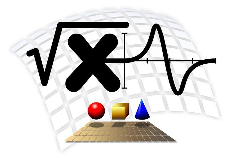 Red Sphere, Yellow Cube, and Blue Cone under the square root of x