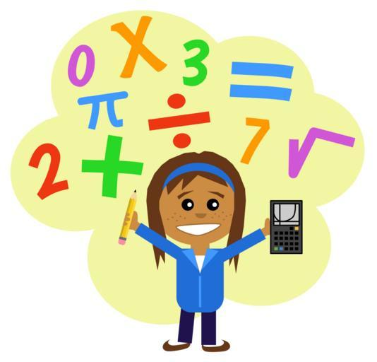 Cartoon with happy girl surrounded by math symbols